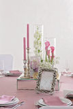 Flower and candle decoration for a wedding. Wedding on the table. Decoration. Flower and candle Stock Photo