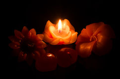 Flower candle on fire Royalty Free Stock Photography