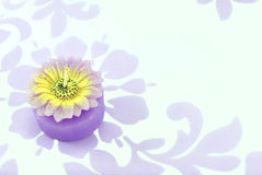 Flower candle on floral background. Violet flower candle on violet floral background Royalty Free Stock Photography