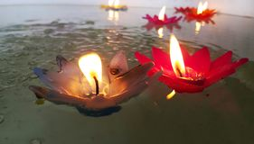 Flower candles. Candle light in the pool Royalty Free Stock Photos
