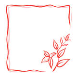 Flower card. Beautiful red flower card layout Stock Images