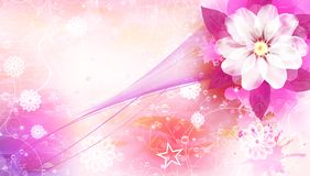 Flower Card. With waves and lights EPS Royalty Free Illustration