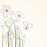 Flower card. Romantic flowers on the beige background royalty free illustration