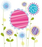 Flower card. Illustration of multicolor flowers on white background Stock Photo
