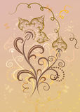 Flower card. Abstract decorative yellow and pink flower card royalty free illustration