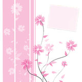 Flower card design. Flower and leaves on pink background with writing board. Can be used in many occasions Stock Photography