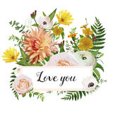 Flower card design vector poster background, ribbon. Floral wild Stock Photos