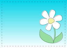 Flower Card. Card with frame and cartoon flower on a blue background Stock Photography