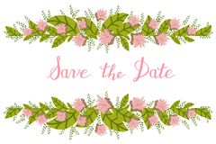 Flower card, invitation, banner template with Save the Date title Stock Photo