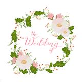 Flower card, invitation, banner template with The Wedding of title Royalty Free Stock Images