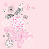 Flower card with love bird Royalty Free Stock Photography