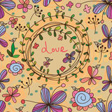 Flower card seamless pattern Royalty Free Stock Photo