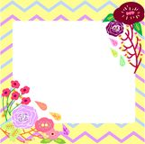 Flower Card with Tribal Background Template Stock Image