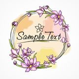 Flower card with watercolor circle pattern Royalty Free Stock Images