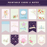 Flower cards and notes, printable cards Stock Photography