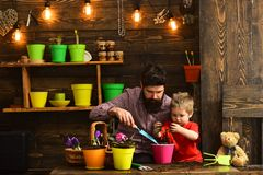 Flower care watering. Soil fertilizers. Father and son. Fathers day. Family day. Greenhouse. happy gardeners with spring royalty free stock photos