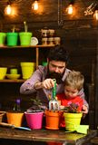 Flower care watering. Soil fertilizers. Father and son. Fathers day. Family day. Greenhouse. bearded man and little boy stock images