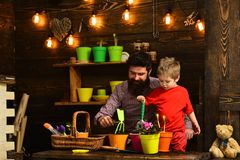 Flower care watering. Soil fertilizers. happy gardeners with spring flowers. Father and son. Fathers day. Family day stock photo
