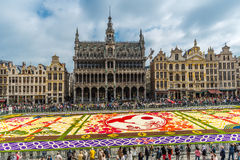 Flower carpet 2016 in Brussels. BRUSSELS - AUGUST 2016 : Floral Carpet in Grand Place on August 13, 2016 in Brussels. This event takes place every 2 years; in stock photography