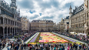 Flower carpet 2016 in Brussels. BRUSSELS - AUGUST 2016 : Floral Carpet in Grand Place on August 13, 2016 in Brussels. This event takes place every 2 years; in stock image
