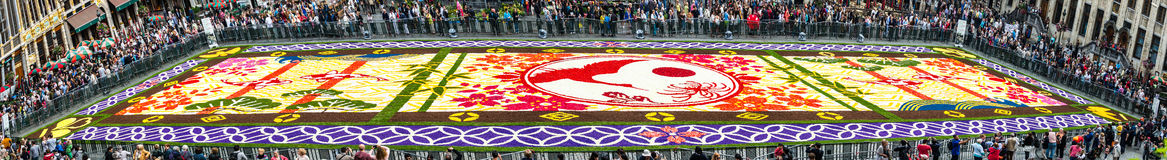 Flower carpet 2016 in Brussels. Brussels, Belgium - August 13, 2016 : Floral Carpet in Grand Place on August 13, 2016 in Brussels. This event takes place every 2 stock image