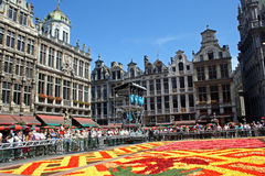 Flower carpet in Brussels. Flower carpet in Grand Place in Brussels, Belgium Royalty Free Stock Photography