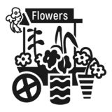 Flower cart icon, simple style vector illustration