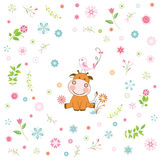 flower and cartoon animal greeting card Stock Photo
