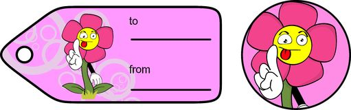Flower cartoon giftcard sticker Stock Image