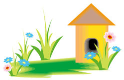 Flower and cartoon house Royalty Free Stock Images
