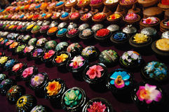 Flower carved soap. On street bazaar Stock Images