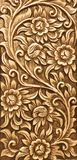 Flower carved on wood Stock Photos