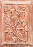 Flower carved on wood. Pattern of flower carved on wood stock photo