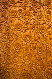 Flower carved on wood Royalty Free Stock Images