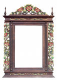 Flower carved wooden frame Royalty Free Stock Images