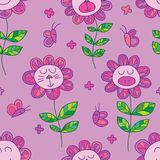 Flower cat bear pig seamless pattern. This illustration is design purple theme color flower cat, bear, pig and butterflies in seamless pattern Stock Image