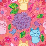 Flower cat bird line unknown seamless pattern. This illustration is design flower with cat and bird line decoration style in seamless pattern Stock Photo