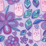 Flower cat cute purple seamless pattern Stock Image