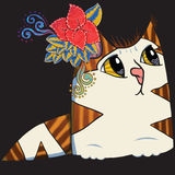 Flower cat in a dark Royalty Free Stock Photos
