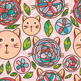 Flower cat head seamless pattern. This illustration is drawing abstract cat cute like flower, love play with natural in pastel color background and seamless stock photos