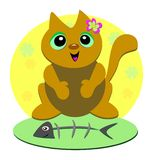 Flower Cat Loves Fish. This happy Cat loves to Fish Royalty Free Stock Photos