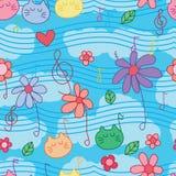 Flower cat music note seamless pattern Stock Photo