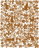 Flower and cat pattern. Drawing of beautiful flower pattern and cat pattern