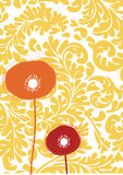 Flower celebration card with baroque wallpaper Stock Photo