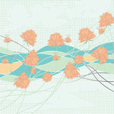 Flower center modern abstract. Illustration line pixel square half flowers background  bottom top template write green color background Royalty Free Stock Images