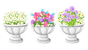 Flower in ceramic grey flowerpots for cultivation of plants. Clay pot in an isometry, isolated on a white background. Web site pag. E and mobile app design stock illustration