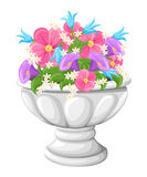 Flower in ceramic grey flowerpots for cultivation of plants. Clay pot in an isometry, isolated on a white background. Web site pag. E and mobile app design Royalty Free Illustration