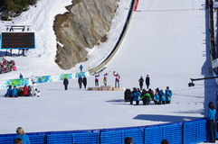 Flower ceremony of ski jumpers Stock Photo