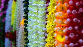 Flower chain in the market of bombay stock image