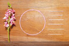 Flower and Chalk Outline Background Stock Images